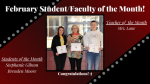 February Students & Faculty of the Month