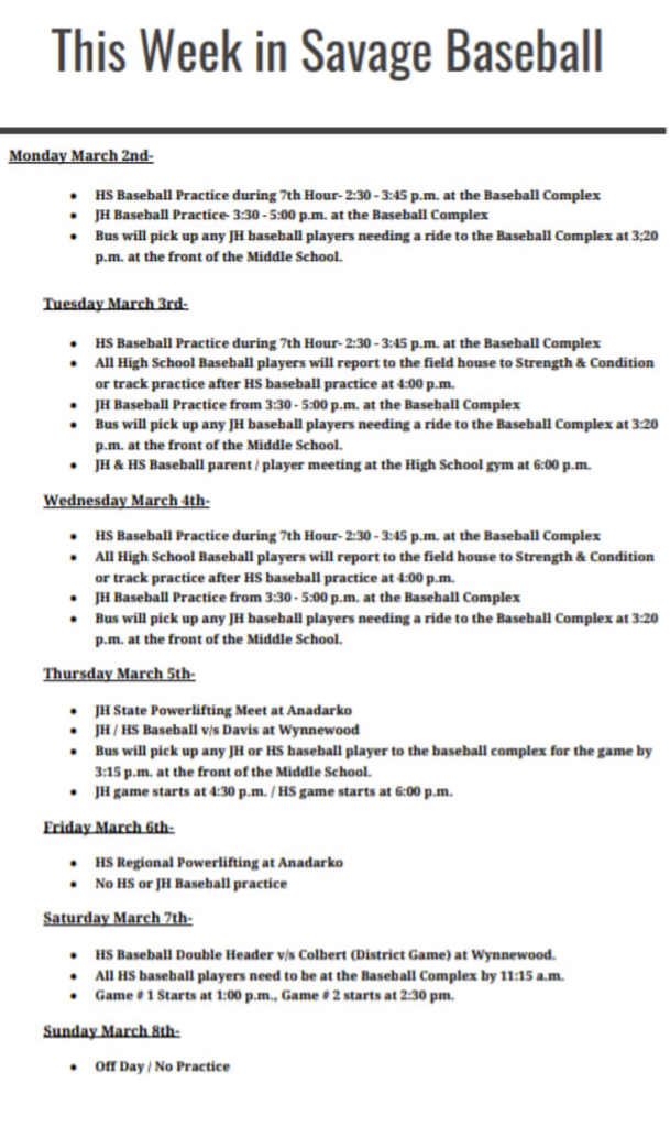 Corrected baseball schedule