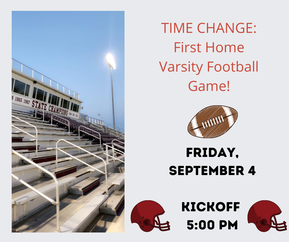 Time Change for Football Game.